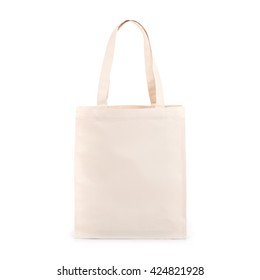 White cotton bag isolated on white background