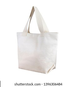 white cotton bag, tote shopping bag isolated on white background