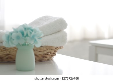 White cotton for the spa, put on the table in the white room.