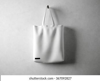 White cotton textile bag holding, neutral background. Horizontal 3d render