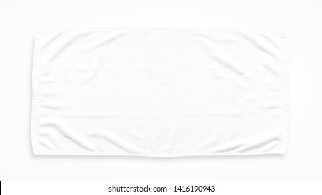 White cotton towel mock up template fabric wiper isolated on white background with clipping path, flat lay top view