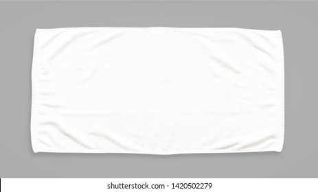 White cotton towel mock up template fabric wiper isolated on grey background with clipping path, flat lay top view