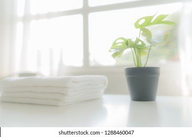 White cotton towels and green plants on white counter table inside a bright bathroom background, copy space For product display montage