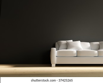 white couch to face a blank black wall