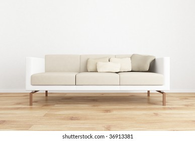white couch to face a blank white wall - with parquet floor