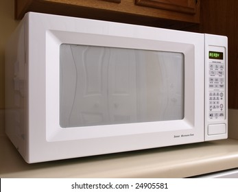 White counter top Microwave oven front view
