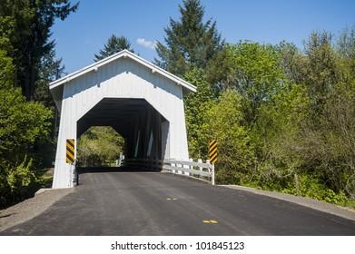 White covered bridge in the Willamette Valley, Oregon
