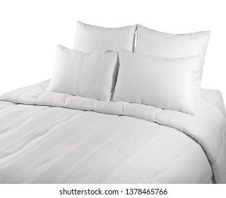 White coverlet with white pillows  isolated