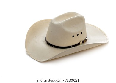 A white cowboy hat on a white background