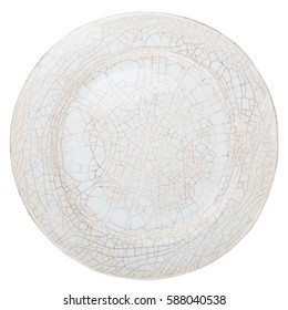 White crackled handmade pottery plate isolated on white background