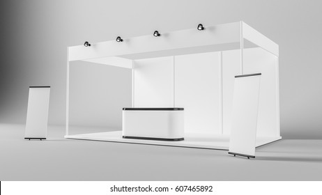 White creative exhibition stand design. Booth template. Corporate identity 3d rendering