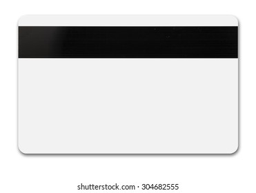 White credit card isolated path, type MC, back with tape