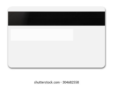 White credit card isolated path, type MC, back with tape and band for sign