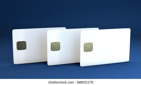 White credit card on blue background