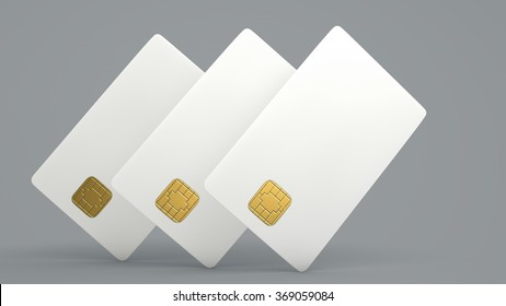 White credit card on gray background