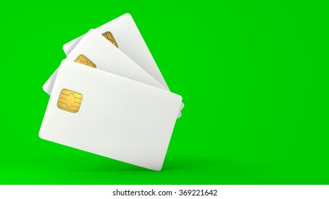 White credit card on green background