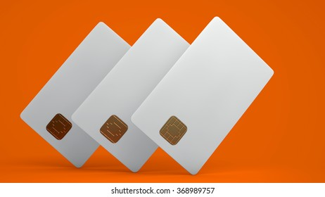 White credit card on orange background