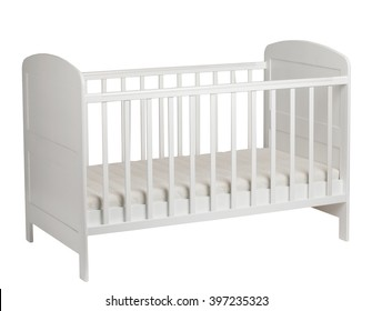White crib for kids with mattress isolated on white background