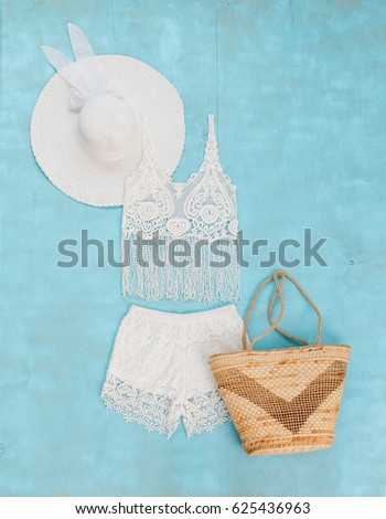 White Crochet Tank Top Shorts Wide Stock Photo (Edit Now) 625436963 ... 418baed6894b