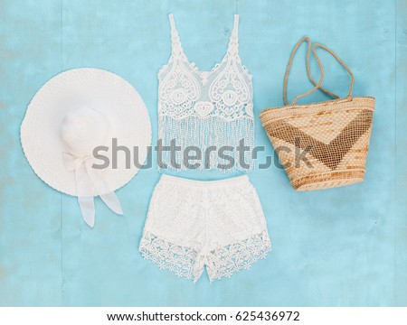 White Crochet Tank Top Shorts Wide Stock Photo (Edit Now) 625436972 ... 7715d9ca4526