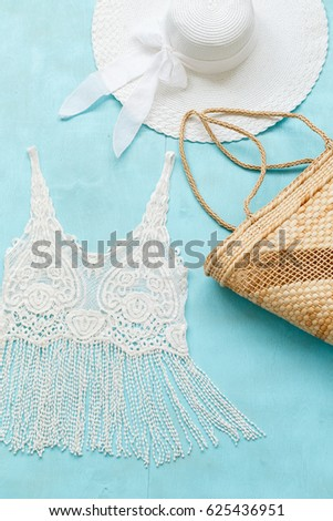 White Crochet Tank Top Wide Brimmed Stock Photo (Edit Now) 625436951 ... 67bfb7aaf4b0