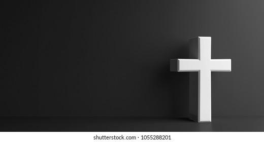 White Cross sign on dark grey background, three-dimensional rendering, 3D illustration