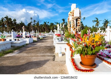 White crosses of a christian cemetery, Uvea (Wallis) island, Wallis and Futuna territory (Wallis-et-Futuna), French overseas collectivity. Strelitzia flowers bouquet on a tomb on the foreground.