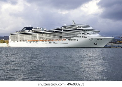 white cruise ship in the gulf of naples