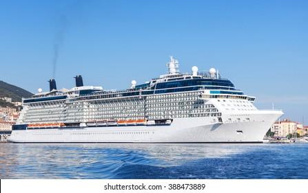 White cruise ship moored in port of Ajaccio, Corsica