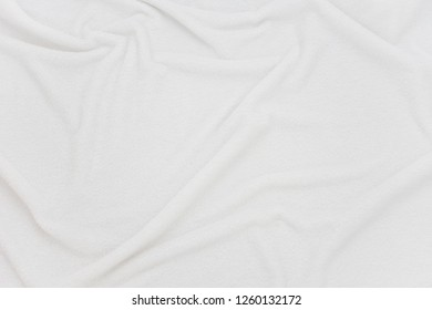 white crumpled blanket, texture, background, top view