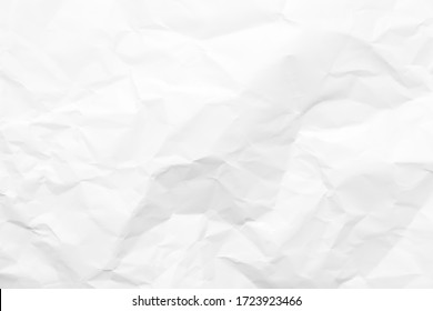 White crumpled paper texture background. Clean white paper. Top view.