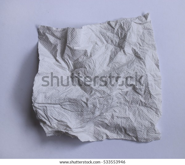 White crumpled  paper towel in strong lighting.