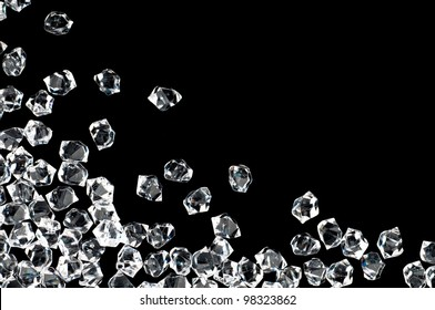 White crystals on a black background