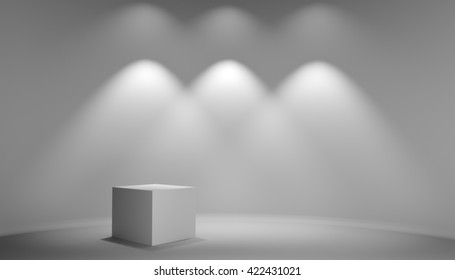 White cube in gray studio. Light from lamp on wall. Background for exhibition of products, web design or business template. 3D illustration