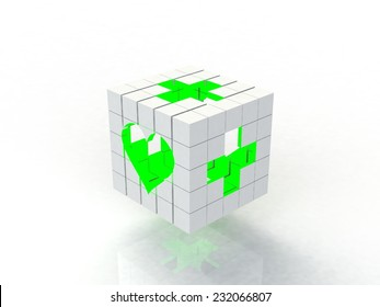 White cube, green cross symbol