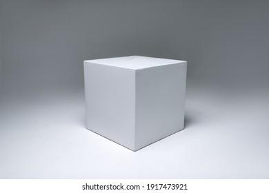 white cube on white background. photo studio equipment. White cyclorama.