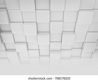 White cubes. Abstract 3D rendering background