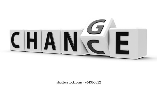 White cubes with flip cube create words - change and chance - on a white table, three-dimensional rendering, 3D illustration