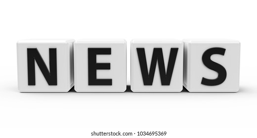 White cubes with word - news - on a white table, three-dimensional rendering, 3D illustration