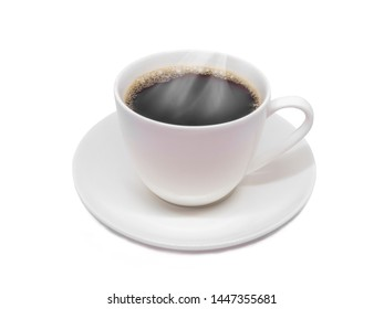 White cup of black coffee isolated on white background Hot coffee with smoke.
