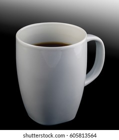 White cup of black coffee isolated on black graded background