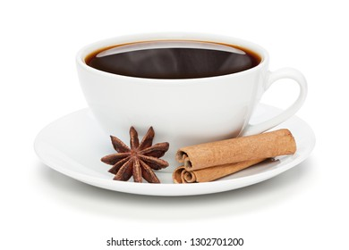 White cup of black hot coffee with cinnamon sticks and star anise, isolated on the white background, clipping path included.