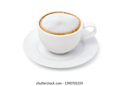 White cup of Cappuccino Latte coffee  isolated on white background with clipping path.