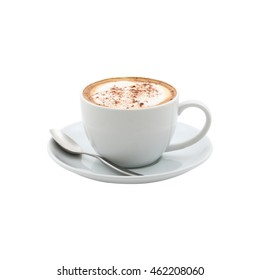 a white cup of cappuccino on white background
