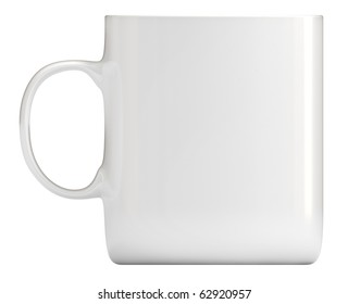 White cup, clipping path included, 3d illustration, isolated on white