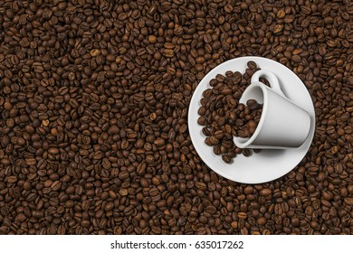 White cup in coffee beans, closeup. cup in coffee beans