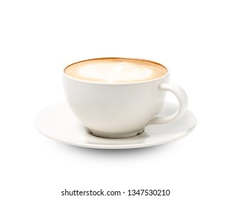 White cup of coffee cappuccino isolated on white background with clipping path.