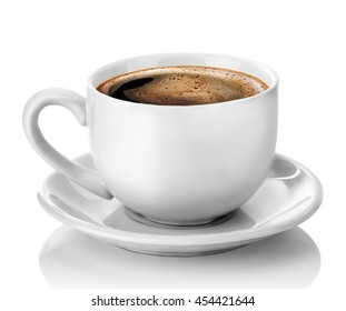 white cup of coffee isolated on the white background clipping path