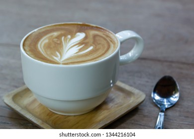 White Cup Of Coffee Latte On Desk Wooden, Time Already Been Enjoy Coffee, Soft Focus On Capuccino Coffee For Background - Vintage Effect Process Picture