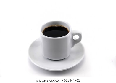 a white cup of coffee on white background